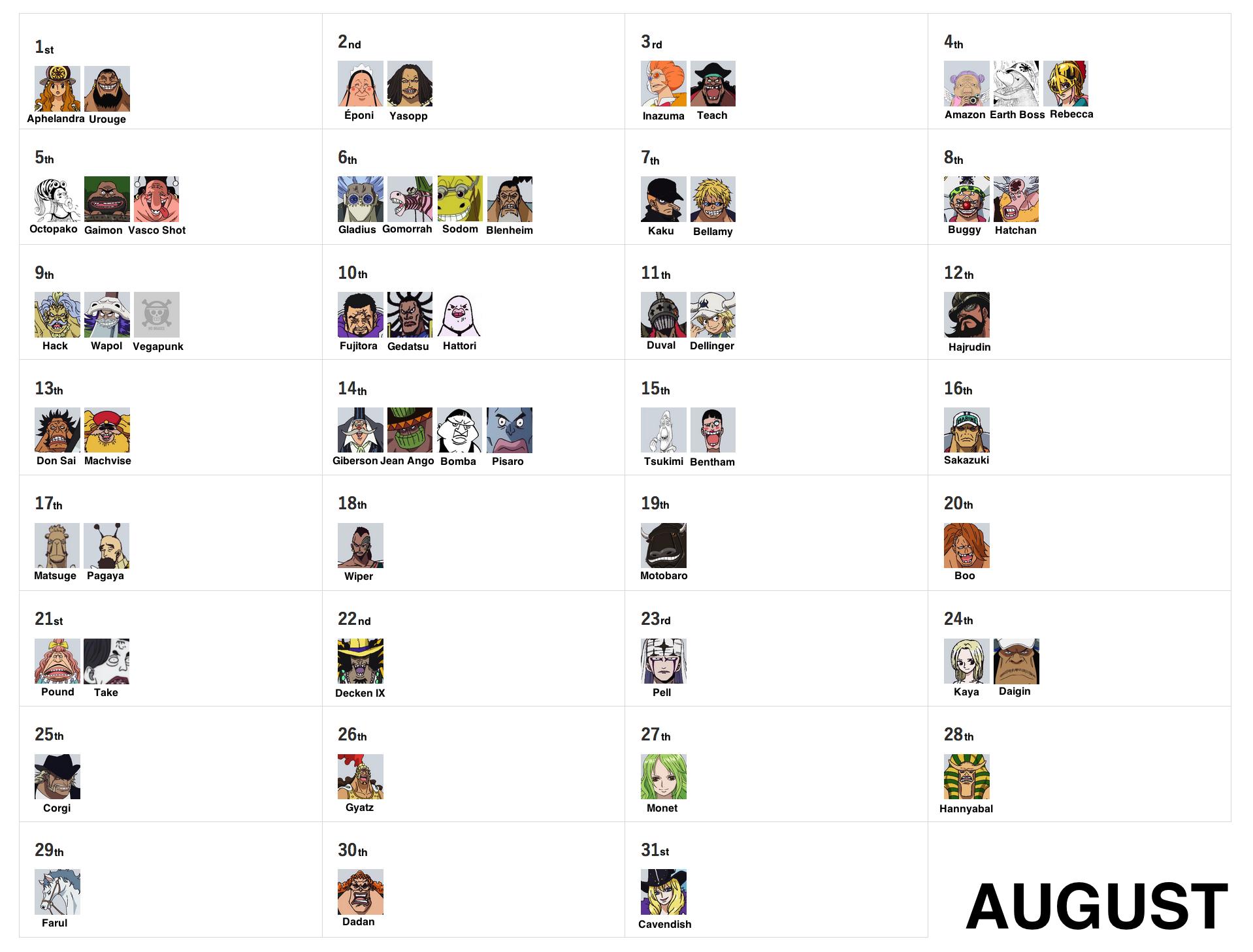 OP Birthday Calendar – The Library of Ohara